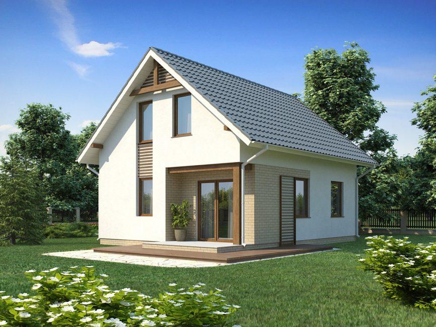 Фасад дома из пеноблоков нуждается в оштукатуривании и облицовке