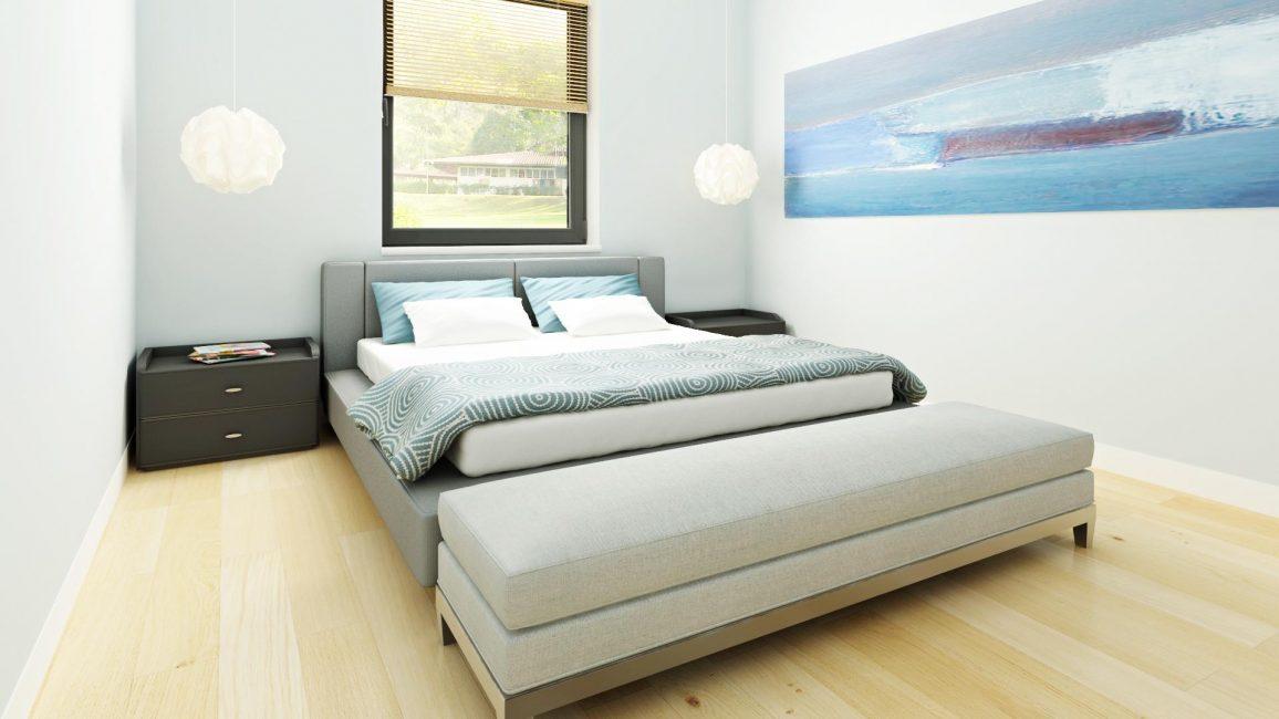 Небольшая, уютная спальня в голубых тонах