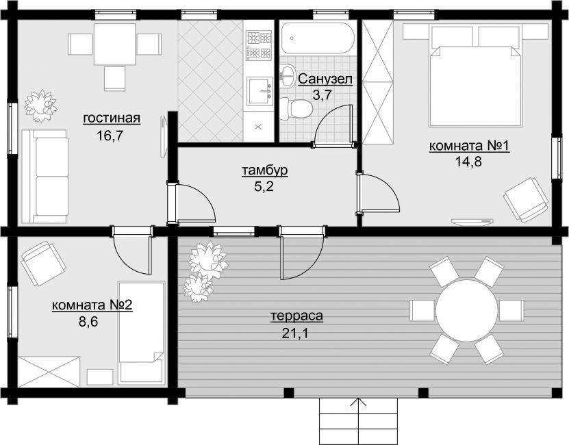 Одноэтажный дом 8х8