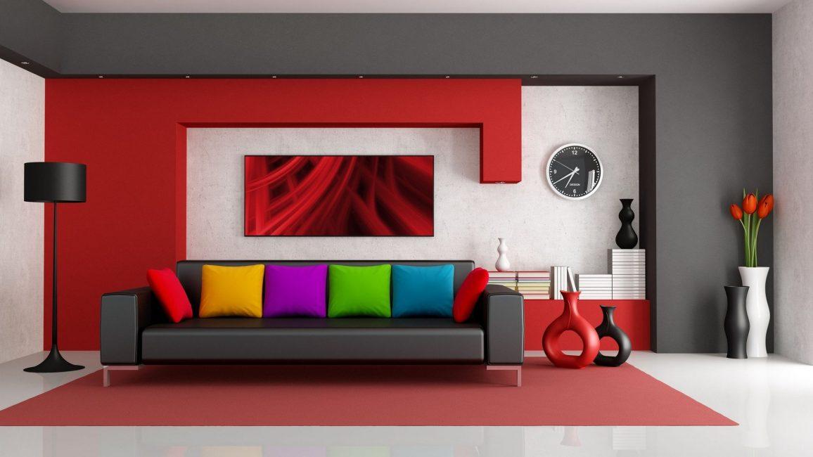 Серый и красный – необычное сочетание