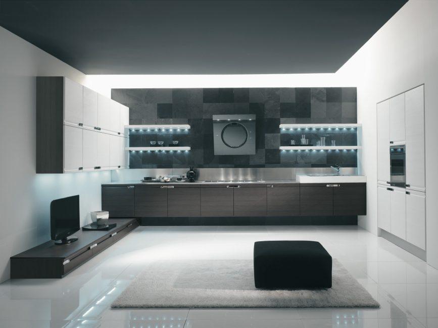 Вариант с объединением кухни и гостиной