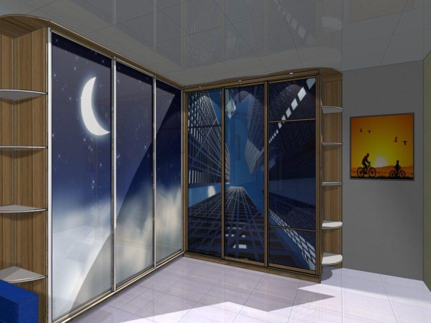 Угловой шкаф - купе с синим принтом