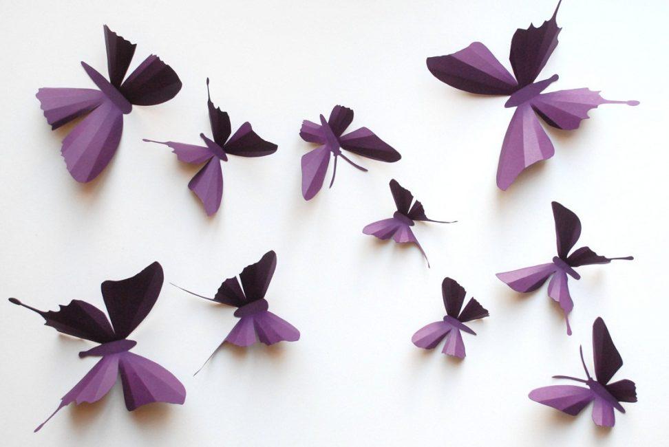 Бумажные 3D бабочки на стену