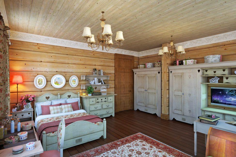 Много дерева и текстиля в интерьере спальни