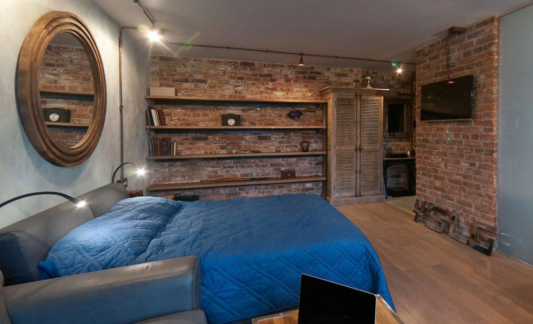 Интерьер спальни в холодных тонах