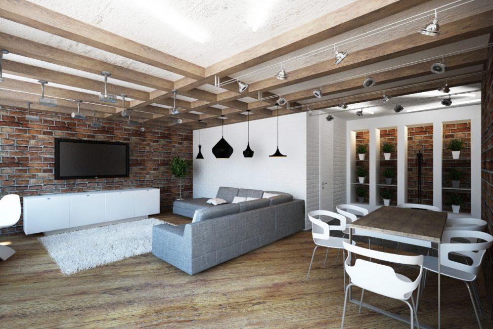 Дерево и деревянные балки лучше всего подходят для потолков в данном стиле