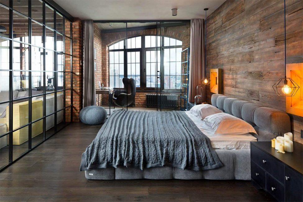 Спальня в даном стиле предусматривает минимальное количество мебели