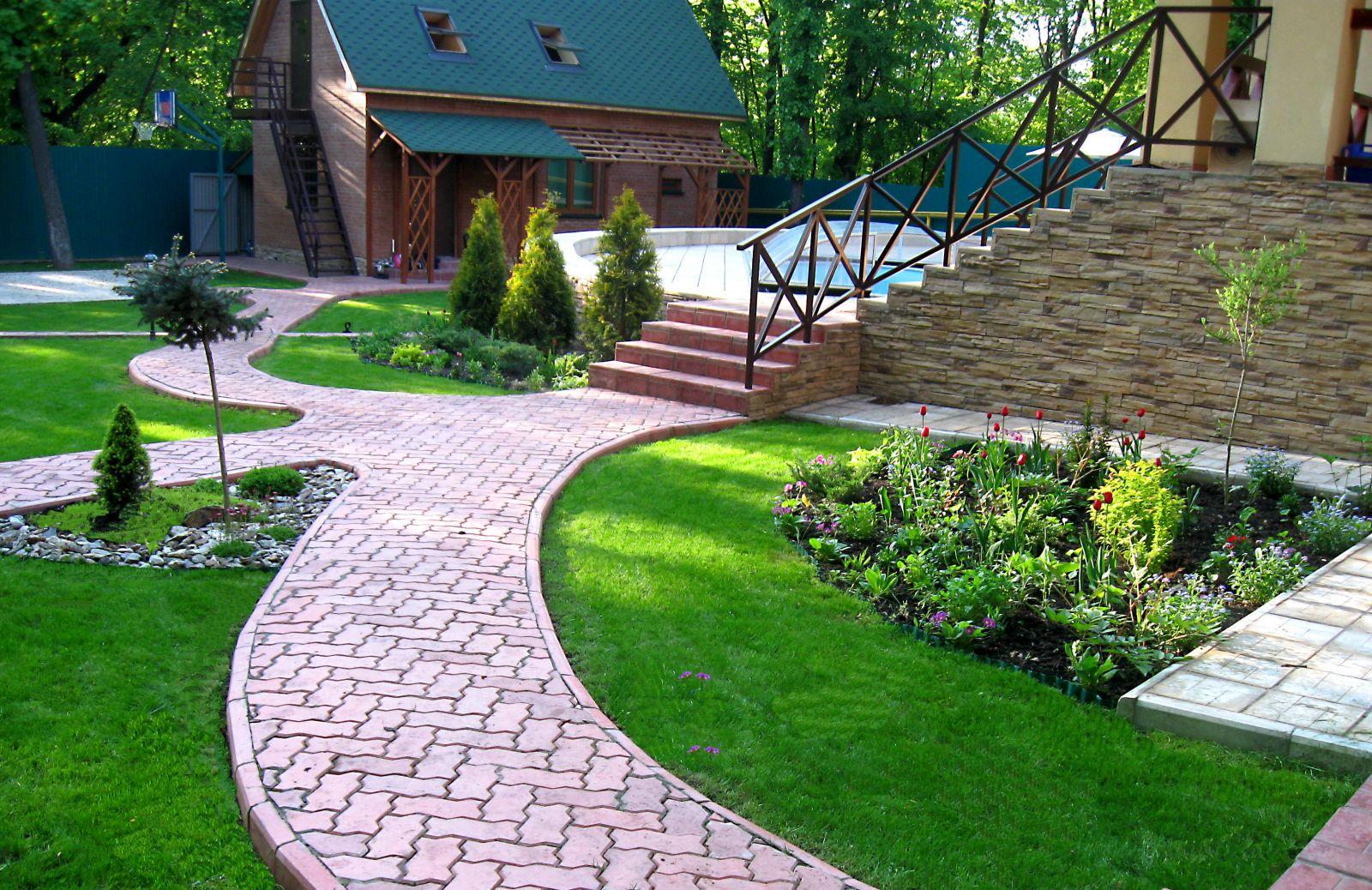 красивый дизайн дворов частного дома 160 фото оформления