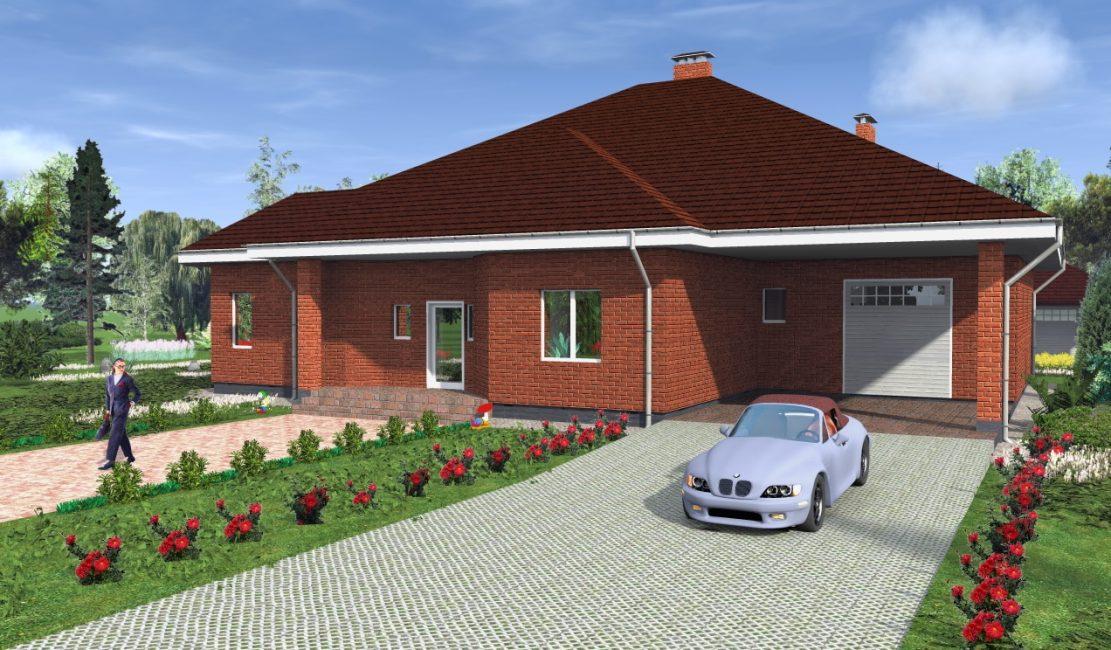 Одноэтажный дом с гаражом и террасой