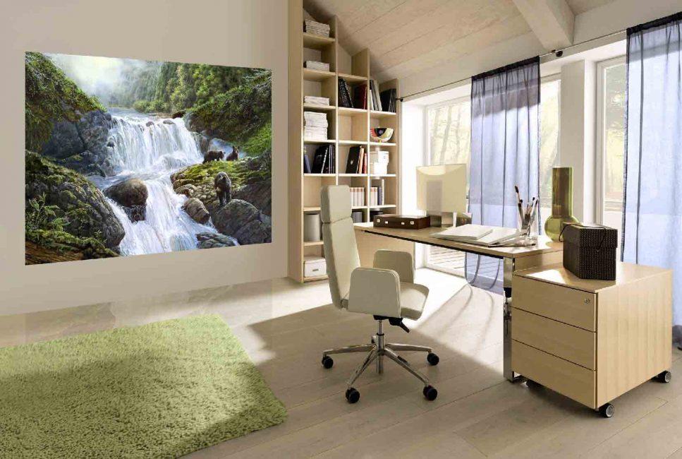 Рабочий кабинет с бумажными фотообоями