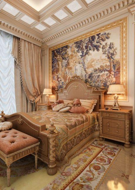 Интерьер спальни в дворцовом стиле