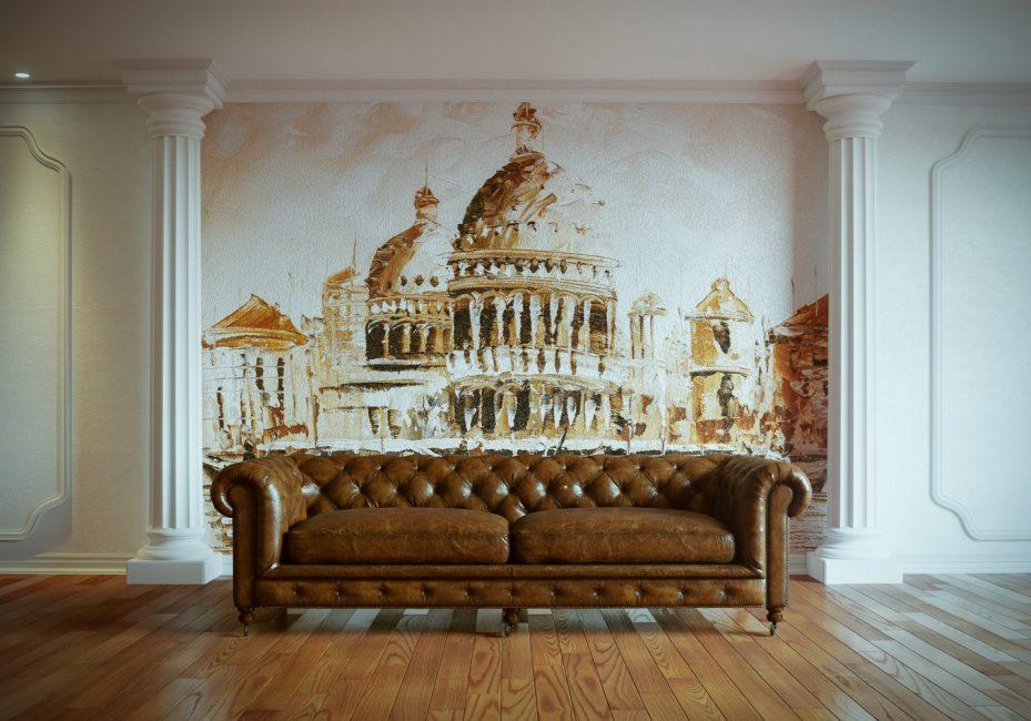 Фреска на стену в классический интерьер