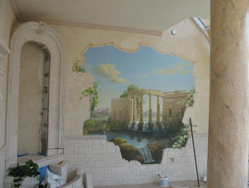 Пейзажная фреска в интерьере