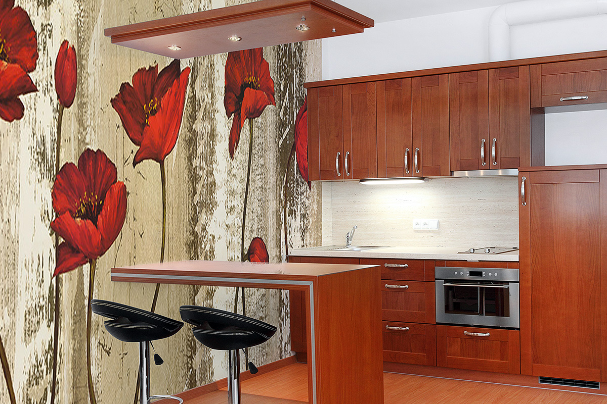 фотообои красные маки на кухне словно оказываетесь