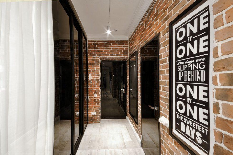 Оформление коридора в стиле лофт