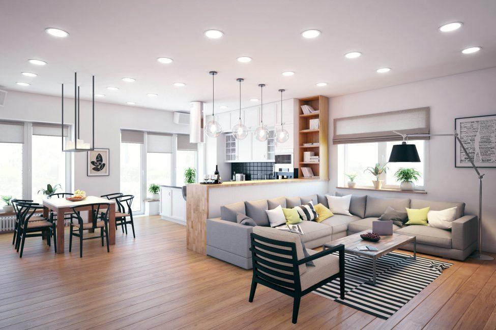Классический дизайн - кухня совмещенная с гостиной