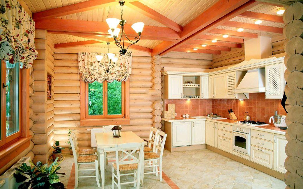 Кухня в русском стиле не обходится без дерева