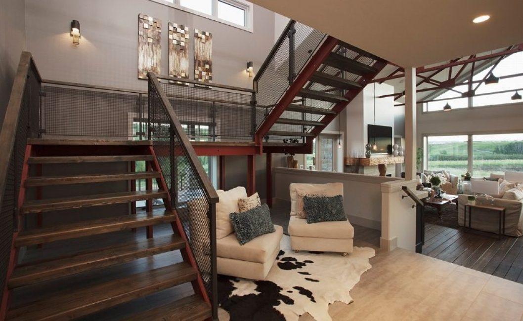 Оригинальный дизайн массивной лестницы