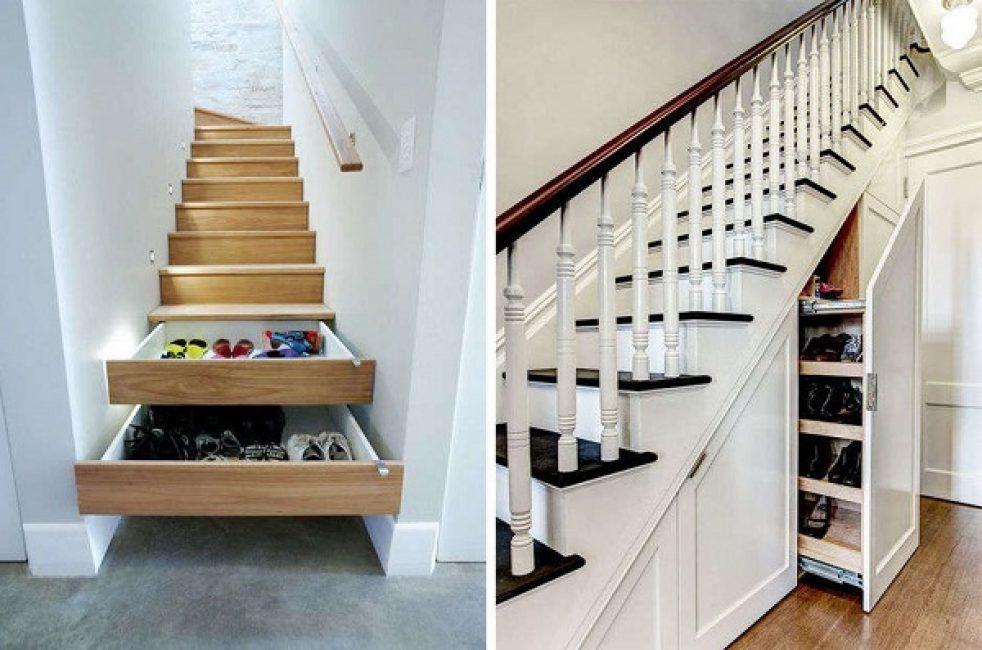 Лестницу на второй этаж можно практично использовать