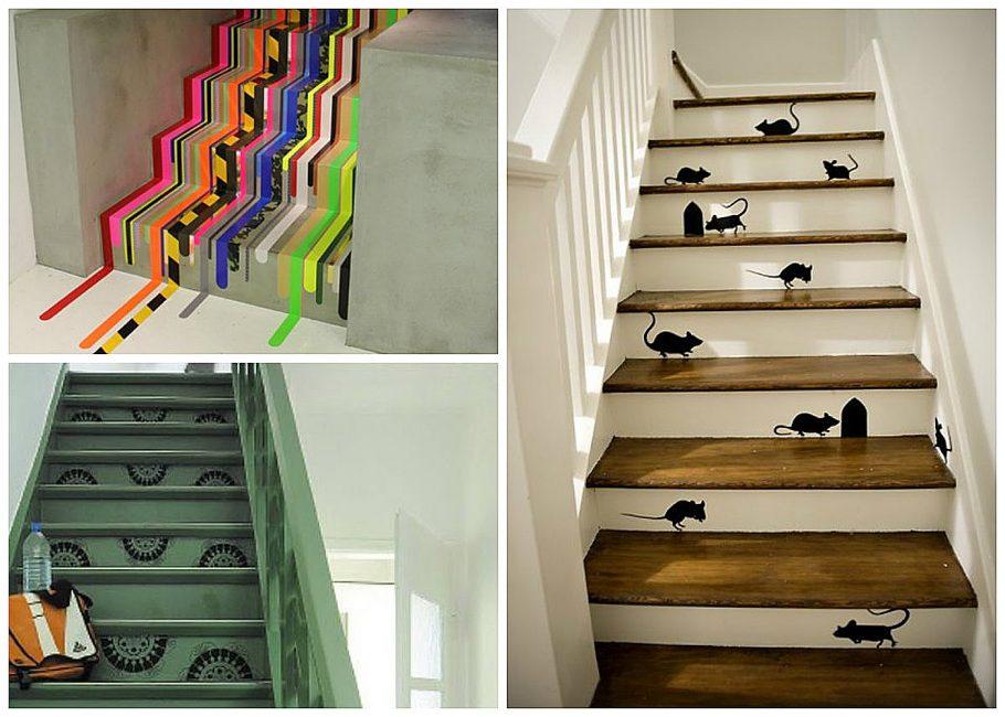 Декорирование лестницы наклейками