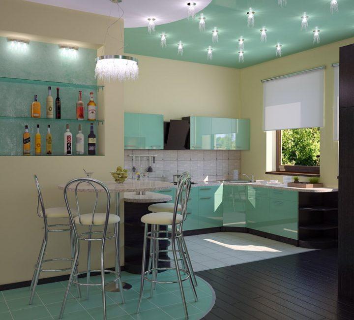 Подвесная люстра в дизайне кухни