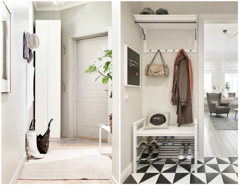 Хорошей идеей для маленькой прихожей станет использование узкой мебели