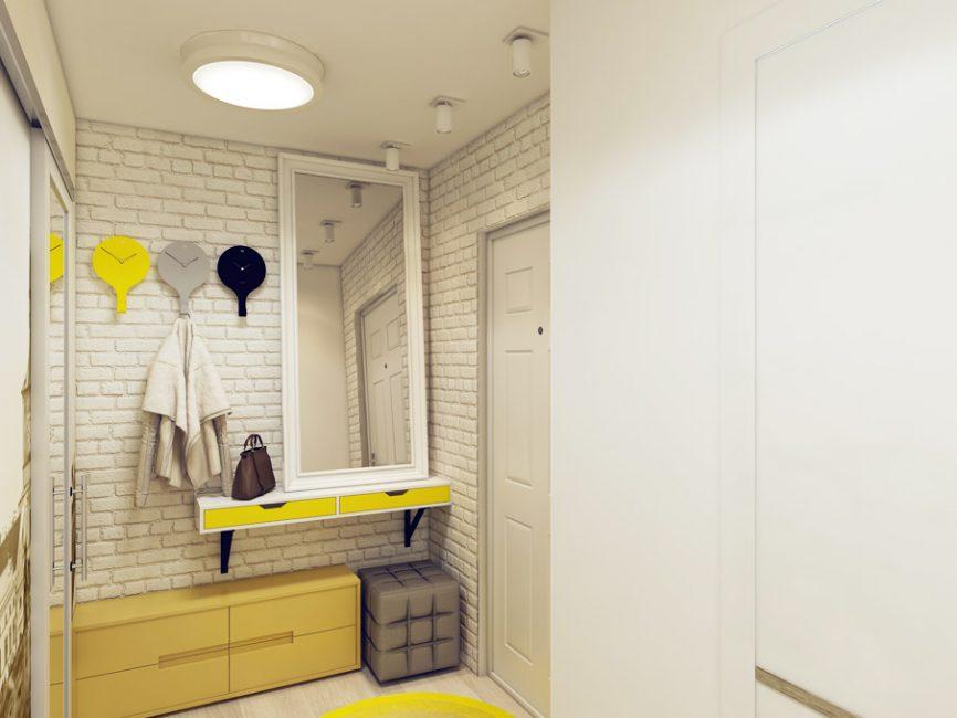 Кирпичная белая кладка и желтая мебель - модный тандем