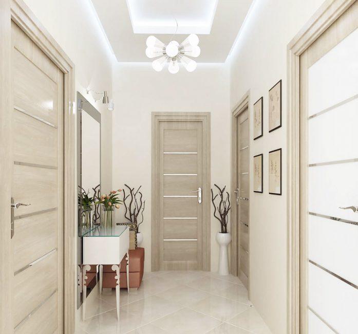 Креативный светильник и двухуровневый потолок с подсветкой обеспечат полностью ярким светом