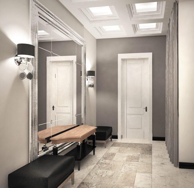 Более привычный вариант - светильники располагают симметрично по обеим сторонам от зеркала
