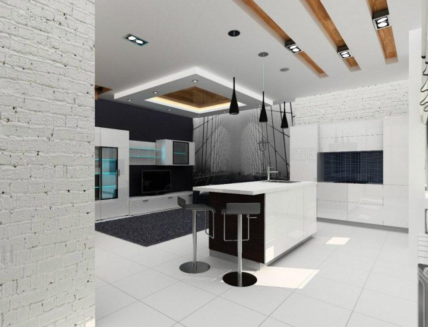 Современный интерьер в стиле хай-тек