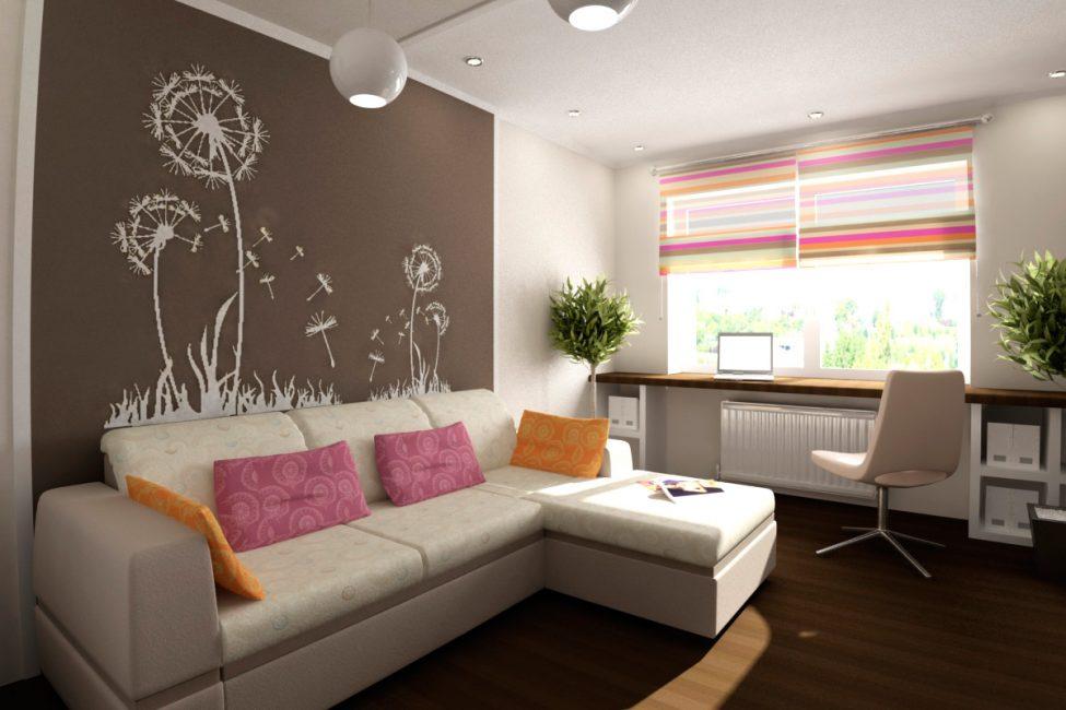 Декором с крупным рисунком можно украсить одну из стен, или ее часть