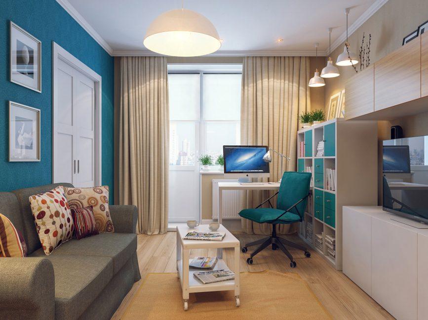 Интерьер в ярких голубых тонах с рабочим местом