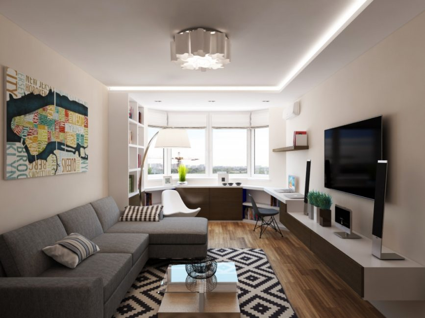 Модерновый дизайн интерьера с рабочим местом у эркера