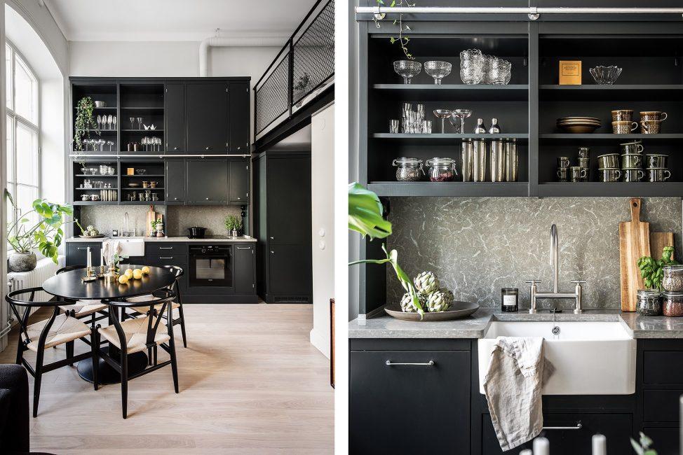 Стильная квартира-студия в матовых черно-белых тонах