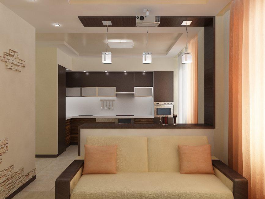 Г-образное размещение кухонной гарнитуры экономит пространство и вместе с тем есть достаточно места для работы