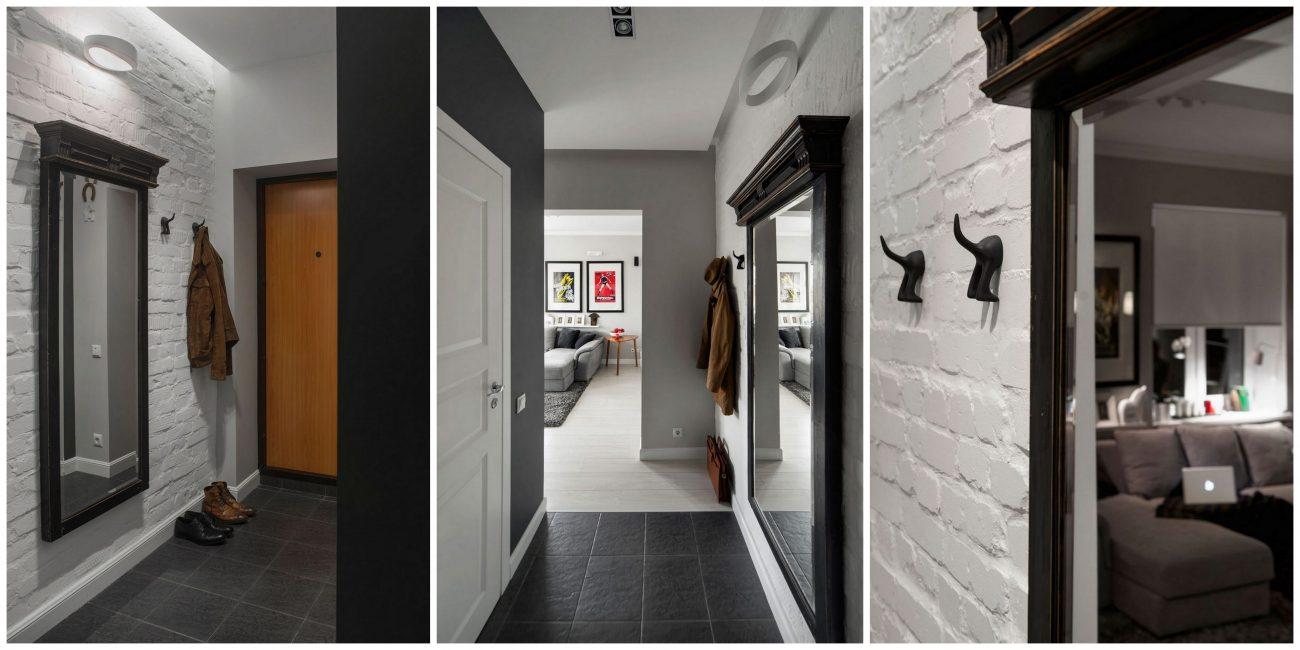 Кладка под кирпич и зеркало под старину украсят ваш коридор