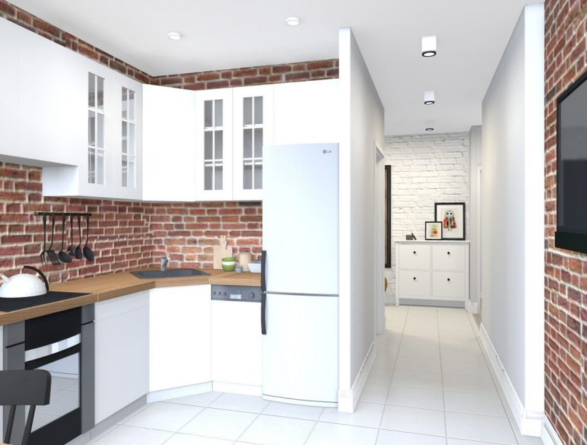Уберите стену между комнатой и прихожей, от этого коридор потеряет немного своей площади