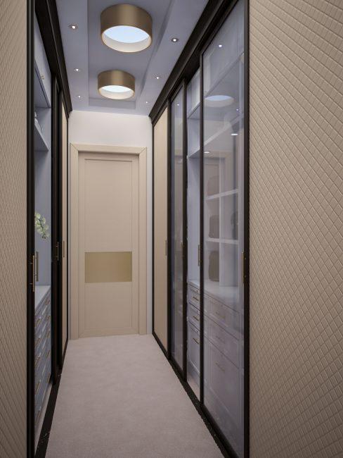Полки с подсветкой и стеклянные двери расширить узкое пространство