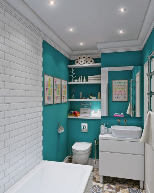 Скандинавский дизайн в ванной комнате и изумрудно-белых цветах