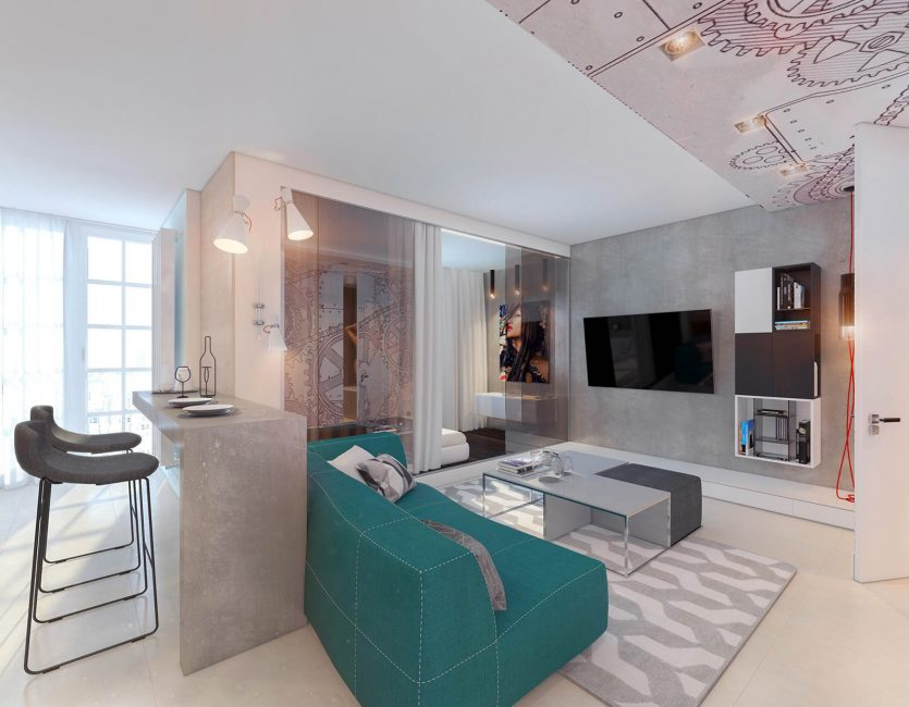 Яркий контрастного цвета диван - допустимый массивный предмет в интерьере