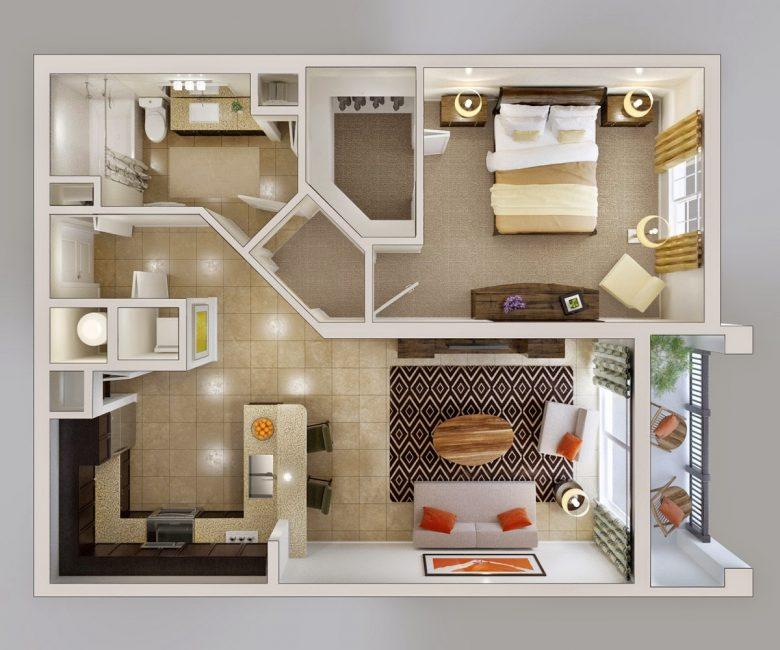 Удобная планировка 2-х комнатной квартиры