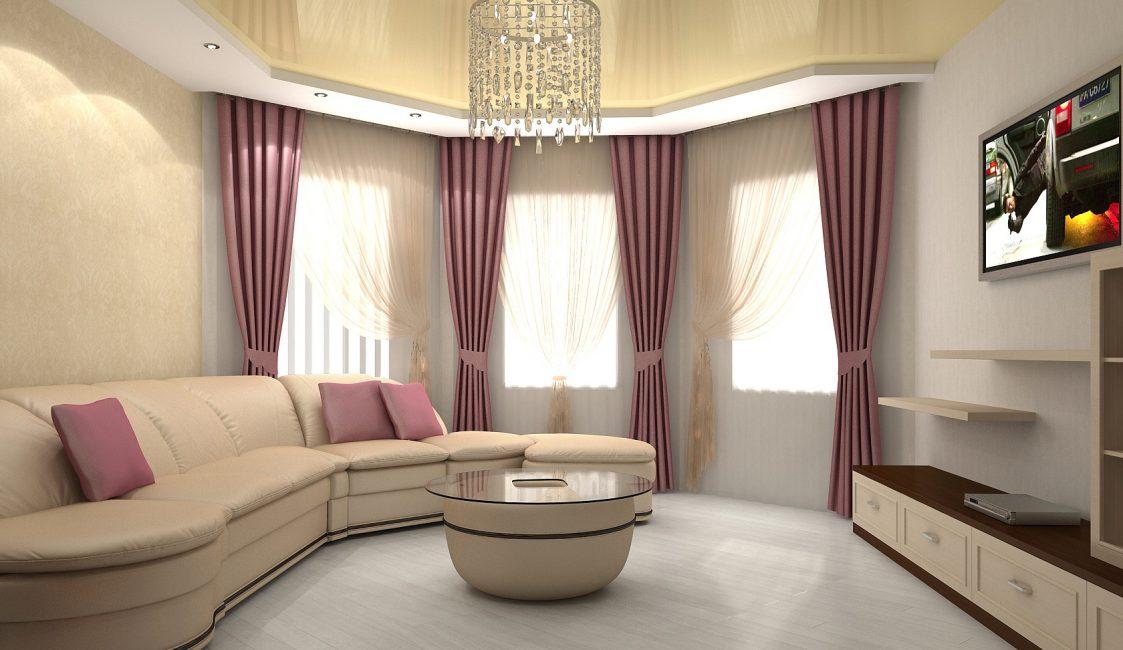 Гостиная с полукруглой стеной дизайн