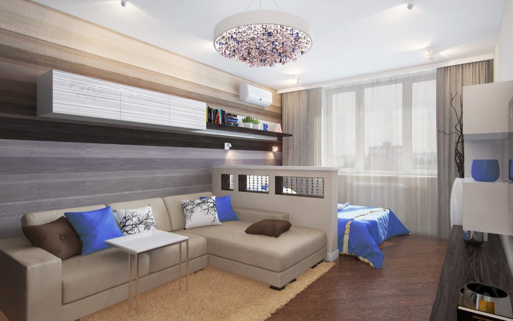 Вариант разделения гостиной и спальной зоны