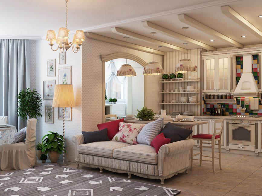 Светлая гостиная в стиле прованс