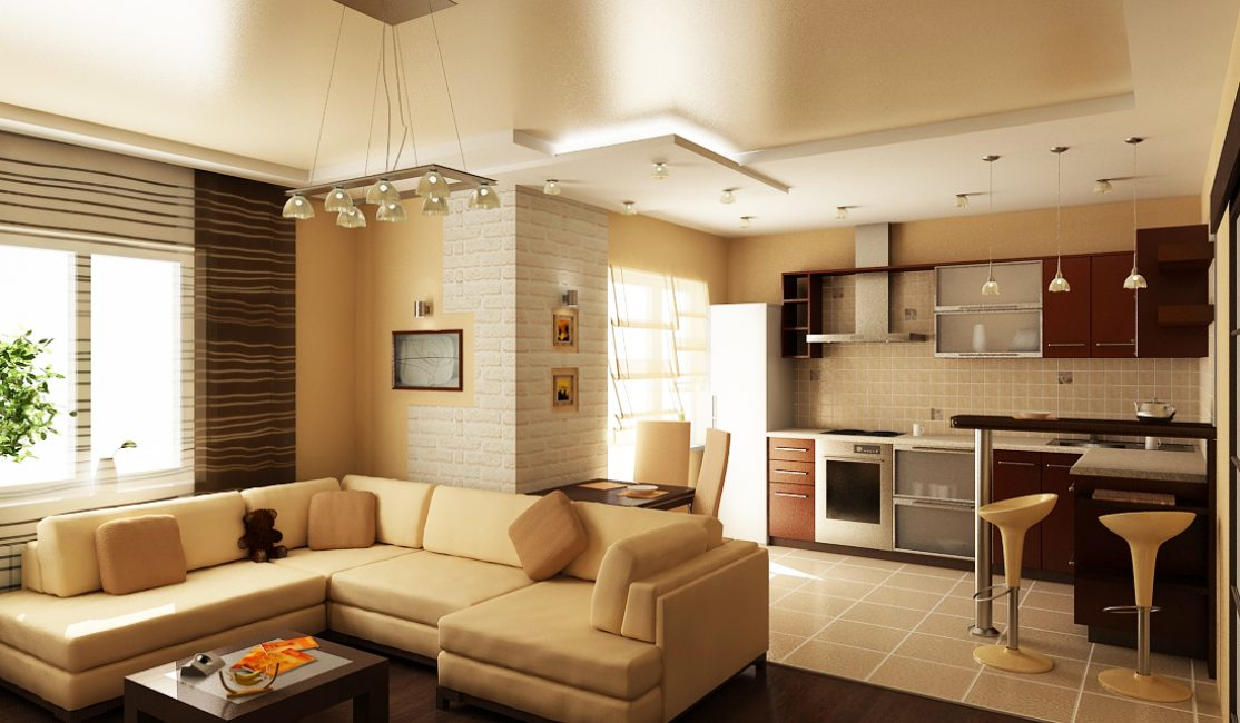 Удобная гостиная-кухня