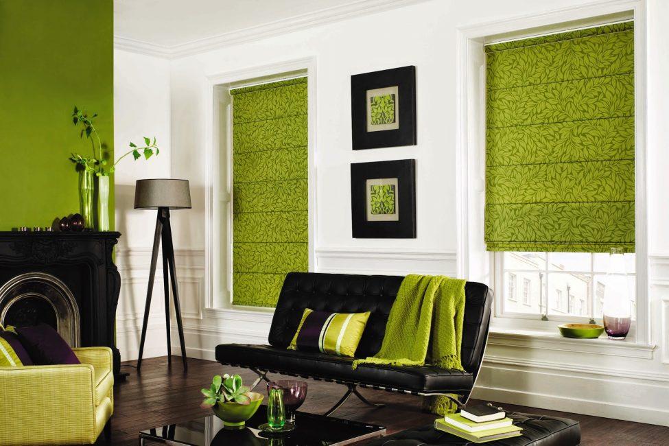 Зеленый придает интерьеру ощущение на природе
