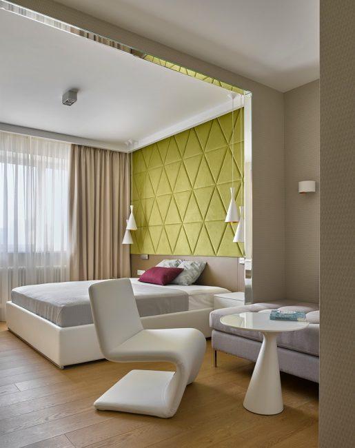 Различная отделка стен для контрастности помещения
