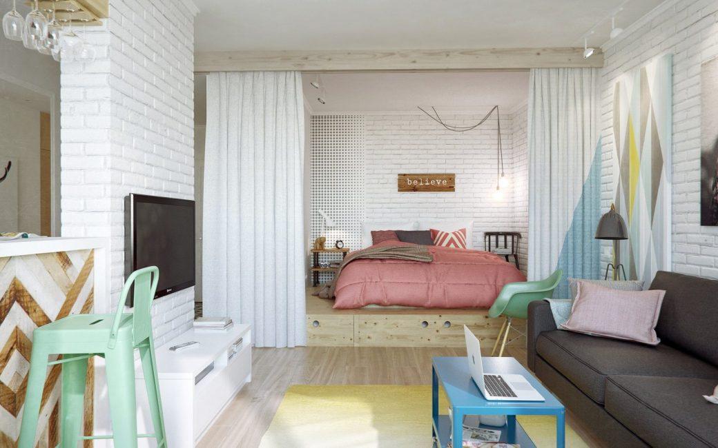 Резкое отделение спальни от гостиной