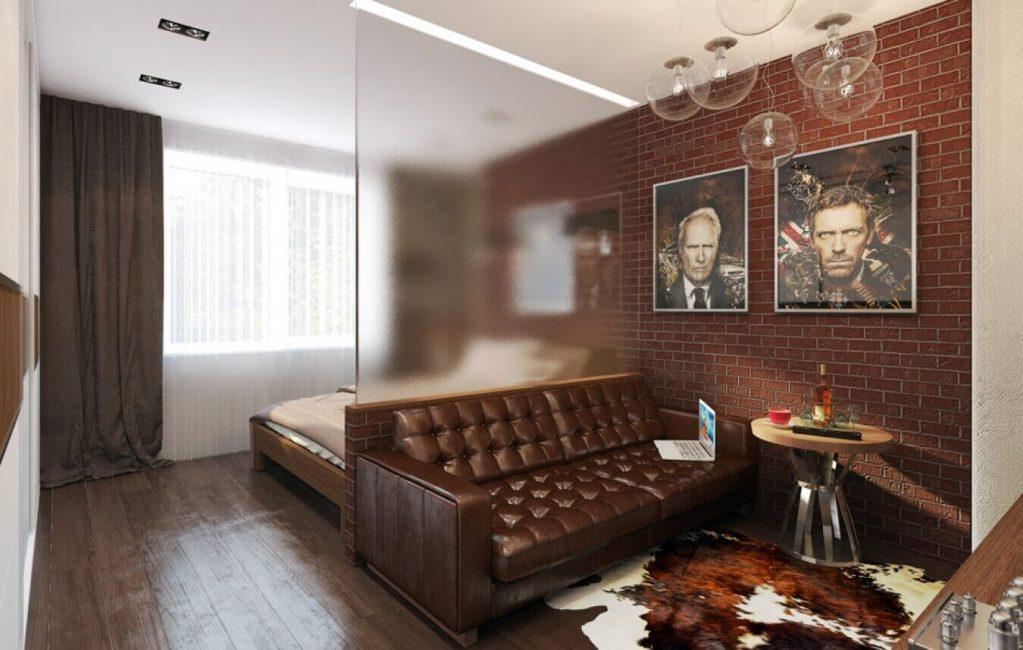 Грамотная вставка из стекла в спальне-гостиной