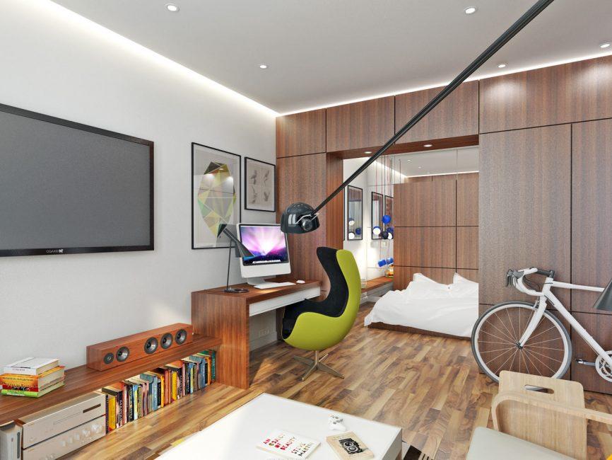 Шкаф в зонировании гостиной и спальни